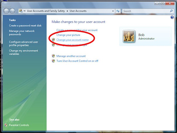 Vista User Accounts Screen