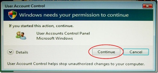 Vista User Account Control Dialog